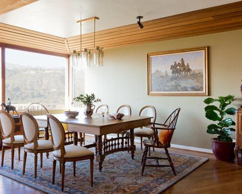 1950s Medium Tone Wood Floor Dining Room Idea In Santa Barbara With Beige  Walls