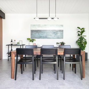 Dining room - 1950s gray floor dining room idea in San Francisco with white walls