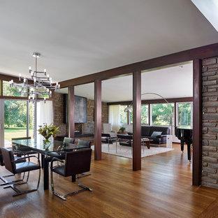 Idee per una sala da pranzo aperta verso la cucina minimalista di medie dimensioni con parquet chiaro, pareti marroni e pavimento marrone