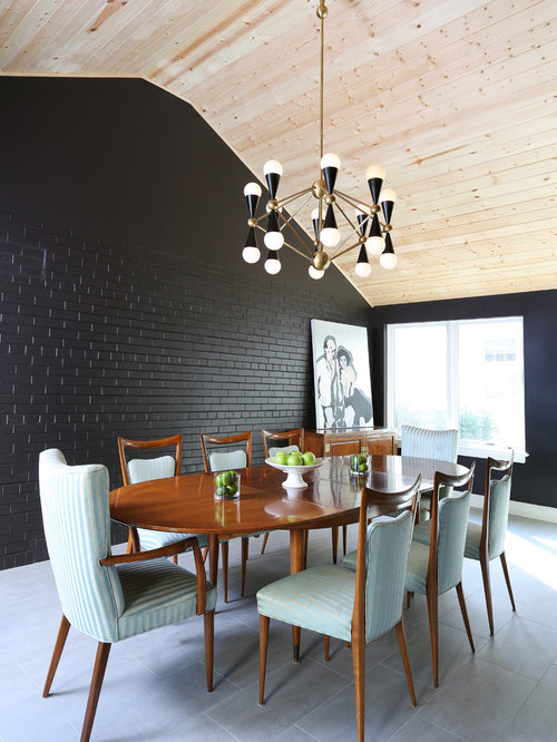 Dining room design ideas remodels photos with black walls for Black dining room walls