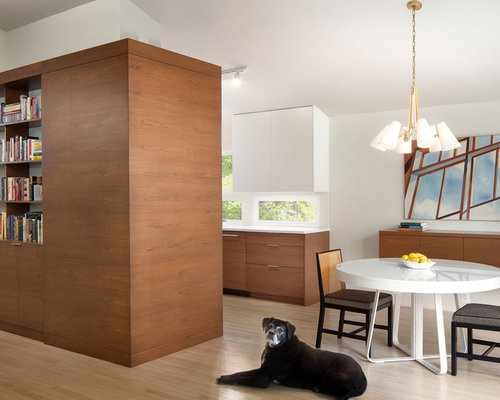 Small Contemporary Light Wood Floor And Beige Kitchen Dining Room Combo Idea In DC