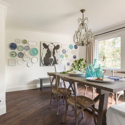 Inspiration for a mid-sized cottage dark wood floor great room remodel in San Francisco with white walls and no fireplace
