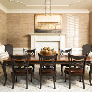 75 Most Popular Farmhouse Dining Room With A Standard Fireplace
