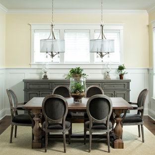 Inspiration for a timeless dark wood floor dining room remodel in Minneapolis with yellow walls