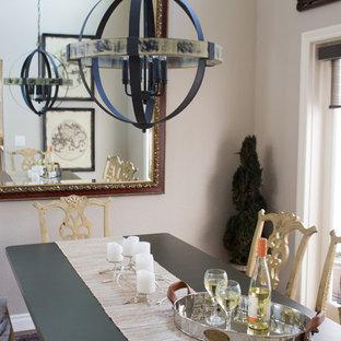 Esempio di una piccola sala da pranzo shabby-chic style chiusa con pareti grigie, pavimento in vinile e nessun camino