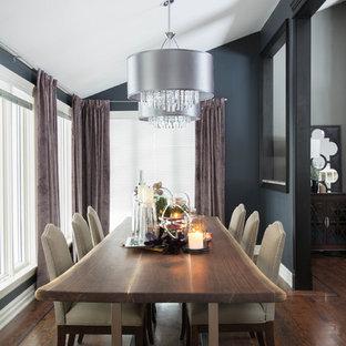 Imagen de comedor actual, grande, abierto, con paredes azules y suelo de madera en tonos medios