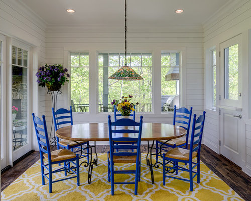 Inspiration For A Farmhouse Enclosed Dining Room Remodel In Other With White Walls Dark Wood