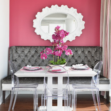 Modern & Glamorous Condo with Grey, Cream, Taupe, and Punches of Pink & Crystal