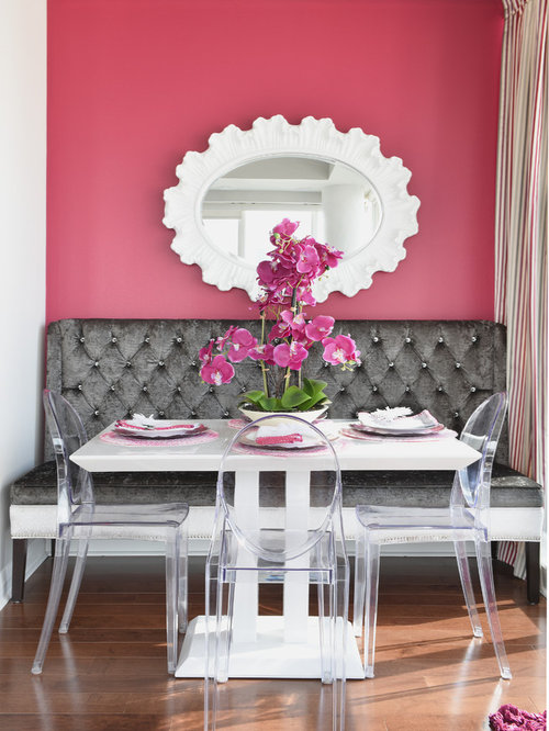 Small dining room design ideas renovations photos with for Pink dining room ideas