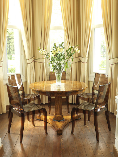 Bay Window Curtain Ideas Inspiration For A Contemporary Dark Wood Floor Dining Room Remodel In London