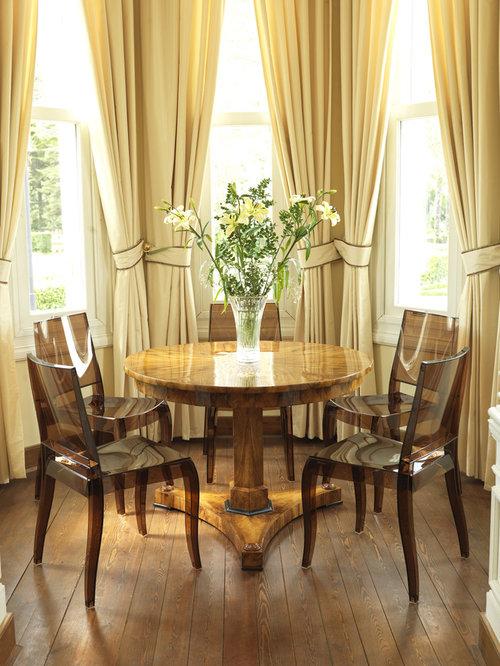Creative curtain tie backs houzz for Modern dining room curtain ideas