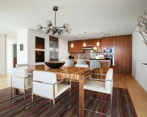 mittelgro e esszimmer mit sperrholzboden design ideen. Black Bedroom Furniture Sets. Home Design Ideas