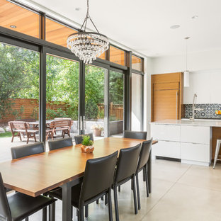 Inspiration For A 1950s Beige Floor And Concrete Floor Great Room Remodel  In Denver With No