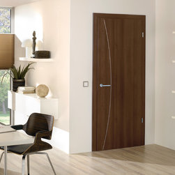 """Laminated Doors - """"Hazelnut"""" - """"Hazelnut"""" is a rich tone finish laminate resembling real wood.  Laminate doors are a terrific alternative to real wood or wood veneer which are easy to clean, scratch resistant, durable and best of all affordable.  All Bartels laminated door products are provided as complete door systems including jamb and casing, door panel and all necessary hardware.  Laminated panels may also be ordered as  pocket doors or slabs only for use with sliding systems and Modern Barn Door Hardware."""