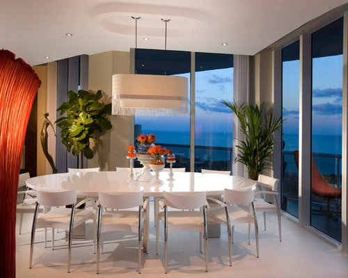 Amazing Example Of A Minimalist Dining Room Design In Miami With Beige Walls