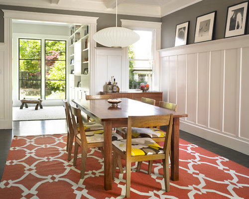 Inspiration For A Small Contemporary Dark Wood Floor And Brown Enclosed Dining Room Remodel In