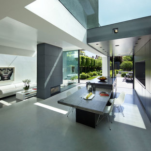 Photo of a large modern dining room in London with white walls, concrete flooring, a standard fireplace and grey floors.