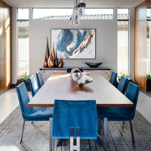 Example Of A Large Trendy Porcelain Floor Enclosed Dining Room Design In Las Vegas With White
