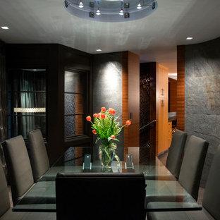 Foto de comedor contemporáneo, de tamaño medio, cerrado, sin chimenea, con paredes negras y suelo gris