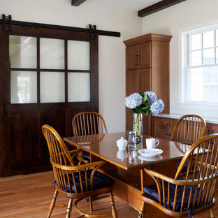 Inspiration For A Mid Sized Farmhouse Light Wood Floor And Brown Kitchen Dining