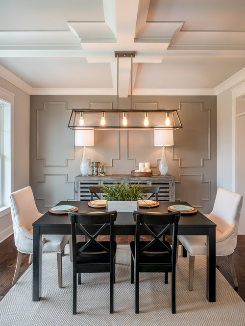 Inspiration For A Farmhouse Enclosed Dining Room Remodel In Philadelphia With White Walls Dark Hardwood