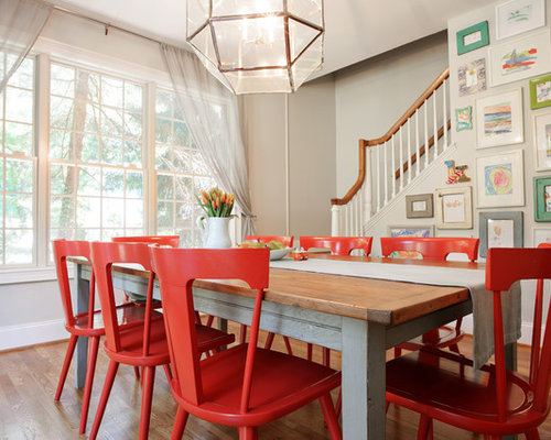 Farmhouse Bright Dining Room Design Ideas Remodels Photos