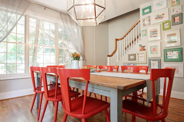 Farmhouse Dining Room by Larina Kase Interior Design10 Reasons to Fall in Love With Red Dining Chairs. Red Dining Chairs And Table. Home Design Ideas