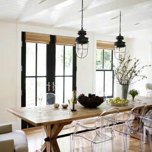 Inspiration for a country dining room remodel in Seattle with white walls