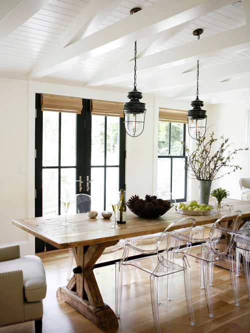 Inspiration For A Farmhouse Dining Room Remodel In Seattle With White Walls