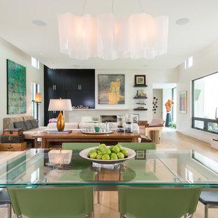 Новые идеи обустройства дома: гостиная-столовая среднего размера в современном стиле с белыми стенами, светлым паркетным полом, камином и фасадом камина из камня
