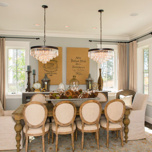 Example Of A Mid Sized Country Brown Floor And Dark Wood Floor Enclosed  Dining Room
