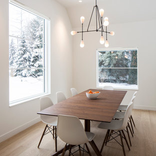 Danish light wood floor dining room photo in Salt Lake City with white walls
