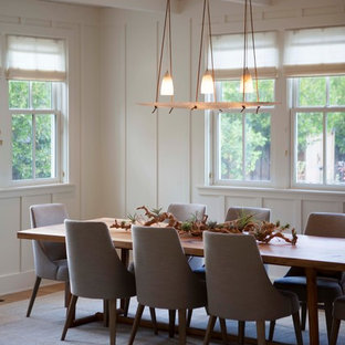 Inspiration for a farmhouse medium tone wood floor dining room remodel in San Francisco with white walls