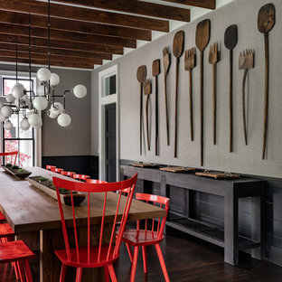 Inspiration for a large cottage dark wood floor and brown floor kitchen/dining room combo remodel in New York with gray walls