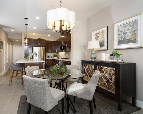 sala da pranzo aperta verso la cucina moderna con pavimento in ... - Gres Porcellanato Cucina Moderna