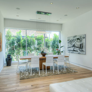 Photo of a large contemporary open plan dining room in Los Angeles with white walls, light hardwood flooring and no fireplace.