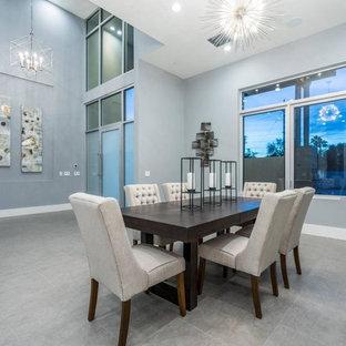 Immagine di un'ampia sala da pranzo aperta verso il soggiorno moderna con pareti blu, pavimento in gres porcellanato e pavimento grigio