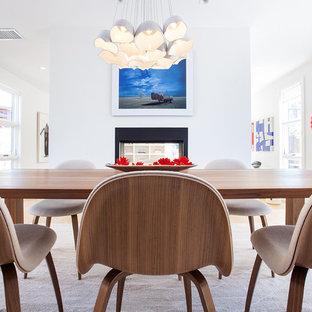 Große Moderne Wohnküche mit weißer Wandfarbe, hellem Holzboden, Tunnelkamin und Kaminumrandung aus Metall in Los Angeles