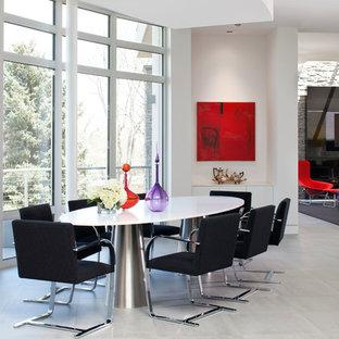 Esempio di una grande sala da pranzo aperta verso il soggiorno minimalista con pareti bianche, pavimento in travertino, camino classico e cornice del camino in pietra