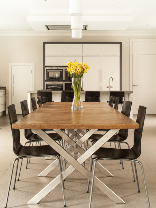 Contemporary Kitchen/dining Room Combo Idea In London With Beige Walls Part 16