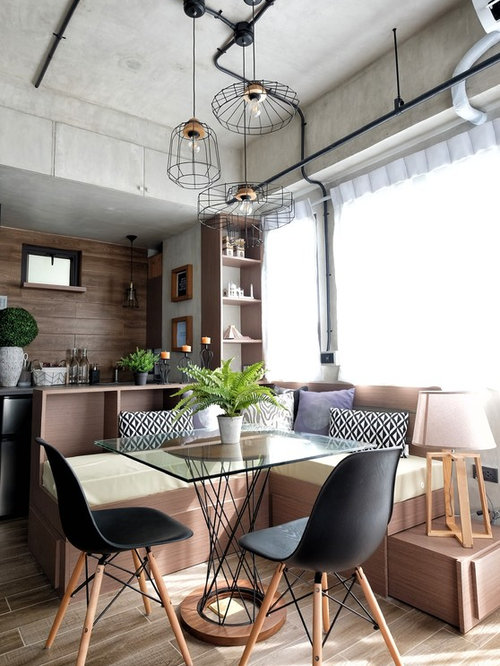 Industrial dining room design ideas remodels photos for Medium dining room ideas