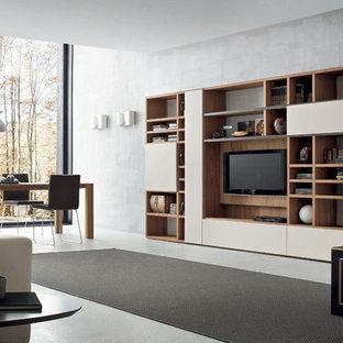 Esempio di una grande sala da pranzo aperta verso il soggiorno moderna con pareti grigie e pavimento in cemento