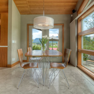 Minimalist dining room photo in Seattle with green walls
