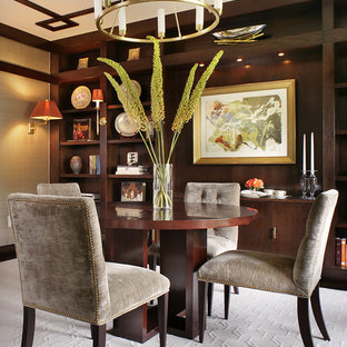 Mid-sized minimalist carpeted and beige floor enclosed dining room photo in New York with gray walls