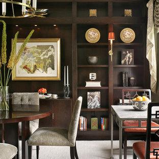 Ispirazione per una sala da pranzo minimalista di medie dimensioni e chiusa con pareti grigie, moquette, nessun camino e pavimento beige