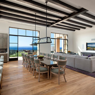 Huge trendy medium tone wood floor great room photo in Santa Barbara with white walls and no fireplace