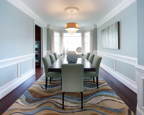 Inspiration For A Timeless Enclosed Dining Room Remodel In DC Metro With Blue Walls And Dark