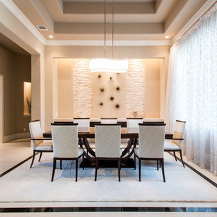 Mid-sized minimalist porcelain tile great room photo in Houston with beige walls