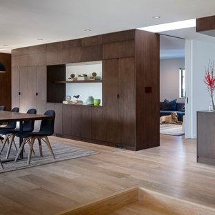 На фото: большая гостиная-столовая в стиле модернизм с белыми стенами, светлым паркетным полом и фасадом камина из штукатурки с