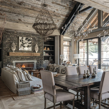 Modern Rustic Dining Room With Unique Lighting